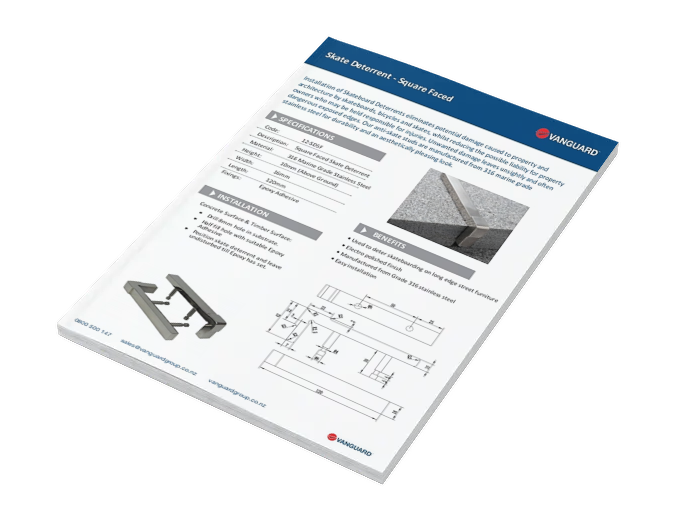 Download our Skate Deterrent - Square Faced Spec Sheet